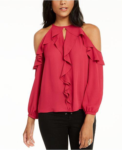 Thalia Sodi Ruffle-Trim Cold-Shoulder Top, Created for Macy's