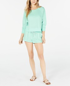 Miken Juniors' Burnout Cropped Cover-Up Sweatshirt & Shorts, Created for Macy's