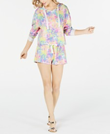 Miken Juniors' Tie-Dye Cropped Cover-Up Sweatshirt & Tie-Dyed Cover-Up Shorts, Created for Macy's