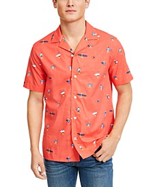 Men's Reid Custom-Fit Tropical-Print Camp Collar Shirt