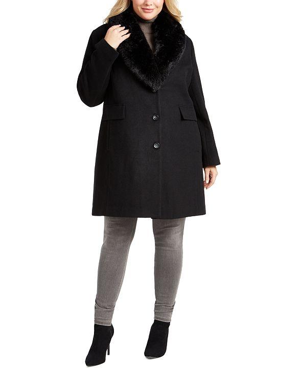 DKNY Plus Size Faux-Fur Shawl-Collar Coat