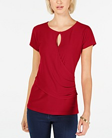 INC Short-Sleeve Keyhole Surplice Top, Created for Macy's