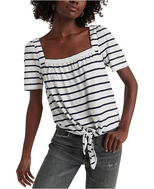Lucky Brand Striped Tie-Front Top