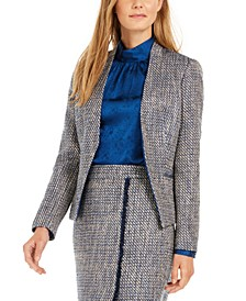 Asymmetrical Tweed Blazer
