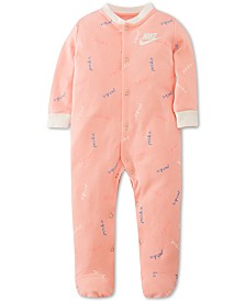 Nike Baby Girls Cotton Logo Snap Coveralls