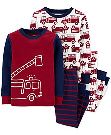 Toddler Boys 4-Pc. Cotton Firetruck Pajamas Set