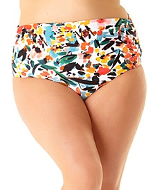 Plus Size Sunset Floral Printed High-Waist Bikini Bottoms