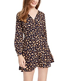 Juniors' Surplice Animal-Print Dress