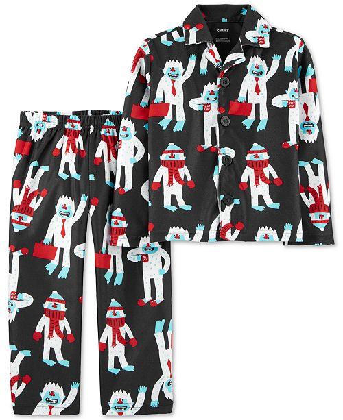 Carter's Toddler Boys 2-Pc. Abominable Snowman-Print Fleece Pajama Set