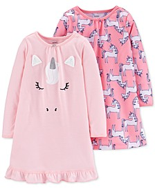 Little & Big Girls 2-Pk. Unicorn Nightgowns