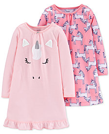 Carter's Little & Big Girls 2-Pk. Unicorn Nightgowns