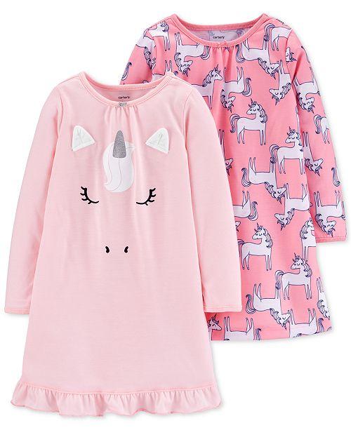 Carter's Little & Big Girls 2-Pk. Unicorn Nightgowns