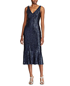Lauren Ralph Lauren Sequined Cocktail Dress, Created For Macy's