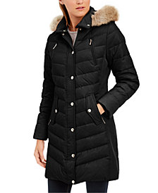 Michael Michael Kors Faux-Fur-Trim Hooded Chevron Down Puffer Coat, Created for Macy's