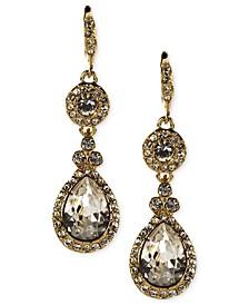 Silver-Tone Swarovski Element Double Drop Earrings