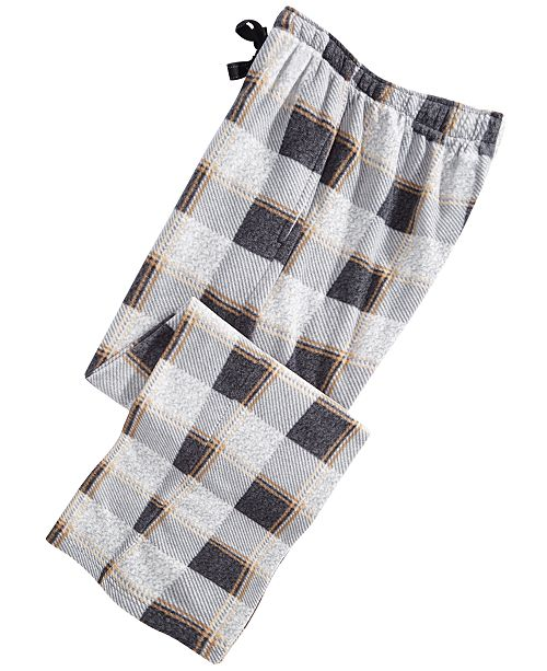 Perry Ellis Men's Medium-Plaid Fleece Pants