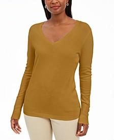 Embellished-Sleeve V-Neck Sweater, Created for Macy's