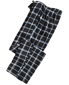 Perry Ellis Men's Windowpane Plaid Fleece Pajama Pants