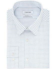 Men's Light Slim-Fit Performance Stretch Print Dress Shirt