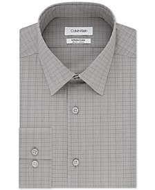 Men's Infinite Color Slim-Fit Non-Iron Stretch Gray Check Dress Shirt