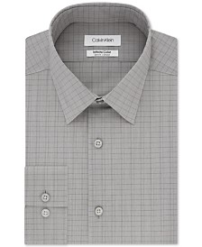 Calvin Klein Men's Infinite Color Slim-Fit Non-Iron Stretch Gray Check Dress Shirt