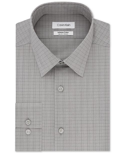 Calvin Klein Men's Infinite Color Slim-Fit Non-Iron Stretch Gray Check Dress Shirt