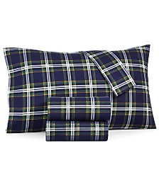 Martha Stewart Collection Printed Cotton Flannel 3-Pc. Twin XL Sheet Set, Created for Macy's