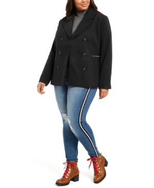 Juniors' Trendy Plus Size Double-Breasted Peacoat