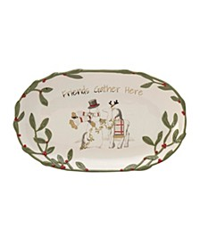 "Fitz & Floyd Mistletoe Merriment ""Friends Gather Here"" Tray"
