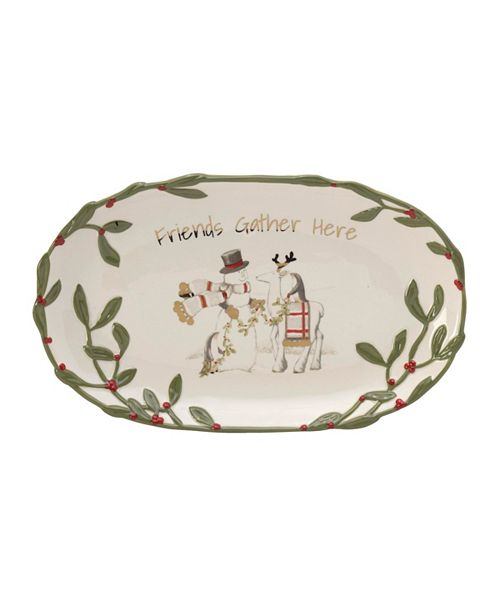 "Fitz and Floyd Fitz & Floyd Mistletoe Merriment ""Friends Gather Here"" Tray"