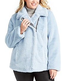 Plus Size Asymmetrical Faux-Fur Coat