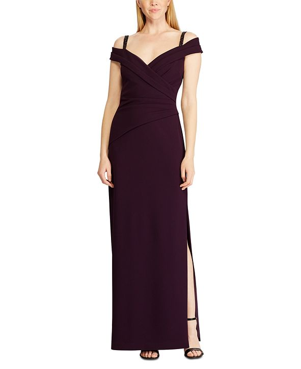 Lauren Ralph Lauren Embellished-Strap Off-The-Shoulder Gown