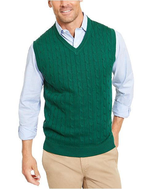 Men's Cable Knit Cotton Sweater Vest, Created for Macy's