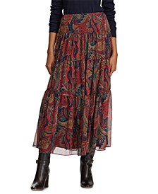 Paisley-Print Georgette Tiered Peasant Skirt