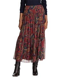 Lauren Ralph Lauren Paisley-Print Georgette Tiered Peasant Skirt