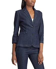 Slim-Cut Denim Blazer