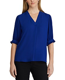 Pleated-Sleeve Georgette Top