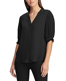 Lauren Ralph Lauren Pleated-Sleeve Georgette Top