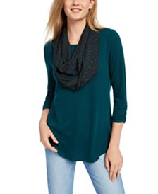 BCX Juniors' Ruched-Sleeve Scarf Top