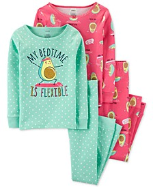 Little & Big Girls 4-Pc. Cotton Avocado Pajama Set