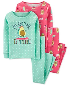 Carter's Little & Big Girls 4-Pc. Cotton Avocado Pajama Set