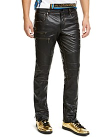 INC Men's ONYX Slim-Fit Leather Moto Pants, Created for Macy's