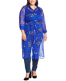 Trendy Plus Size Country Bouquet Printed Belted Tunic
