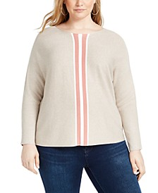 INC Plus Size Varsity-Stripe Sweater, Created for Macy's