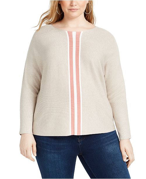 INC International Concepts INC Plus Size Varsity-Stripe Sweater, Created for Macy's