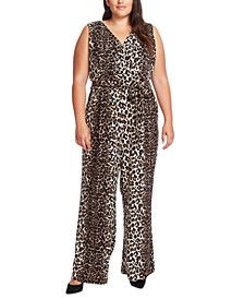 Plus Size Printed Belted Wide-Leg Jumpsuit