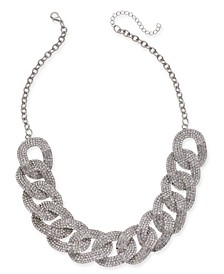 "Silver-Tone Crystal Link Collar Necklace, 18"" + 3"" extender, Created For Macy's"