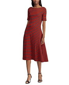 Petite Stripe-Print Fit & Flare Dress
