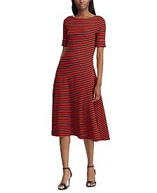 Lauren Ralph Lauren Petite Stripe-Print Fit & Flare Dress