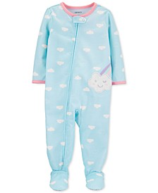 Toddler Girls 1-Pc. Cloud-Print Footed Pajamas